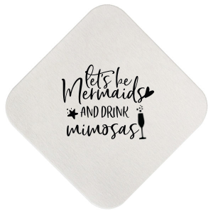 ForYourParty's personalized Blush with Kraft back Deco Coaster with Satin Teal / Peacock Foil has a Single flute graphic and is good for use in Drinks, Holiday, Wedding themed parties and can't be beat. Showcase your style in every detail of your party's theme!