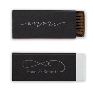 Custom Natural Black Candle Matchbox with Shiny Sterling Silver Foil Color has a Amore graphic and a Fancy Flourish 3 graphic and is good for use in Accents themed parties and can be personalized to match your party's exact theme and tempo.