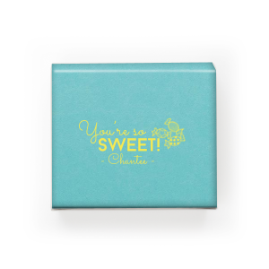 Our custom Poptone Tiffany Blue Rectangle Box with Matte Mimosa Yellow Foil has a Candy graphic and is good for use in Kid Birthday, Food, Birthday themed parties and will give your party the personalized touch every host desires.