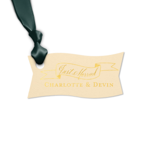 Our personalized Natural Ivory Rectangle Gift Tag with Shiny 18 Kt Gold Foil has a Banner 2 graphic and is good for use in Accents, Frames themed parties and couldn't be more perfect. It's time to show off your impeccable taste.
