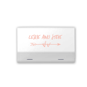 Our beautiful custom Poptone Peach Lipstick Matchbox with Matte White Foil has a Arrow 2 graphic and is good for use in Accents, Frames, Wedding themed parties and couldn't be more perfect. It's time to show off your impeccable taste.