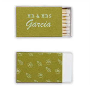 Our beautiful custom Poptone Dark Olive Classic Matchbox with Shiny Green Tea Foil has a Cute Flower Pattern graphic and is good for use in Floral, Wedding, Mother's Day themed parties and can be customized to complement every last detail of your party.