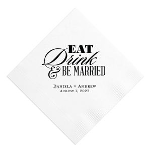 ForYourParty's chic White Cocktail Napkin with Matte Black Foil Color will give your party the personalized touch every host desires.