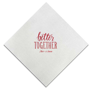 ForYourParty's elegant Sunflower Cocktail Napkin with Shiny Convertible Red Foil has a Better Together graphic and is good for use in Words, Pairs, Hearts themed parties and will impress guests like no other. Make this party unforgettable.