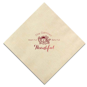 Personalized Dune Heather Dinner Napkin with Shiny Merlot Foil Color has a Thanksgiving graphic and is good for use in Holiday themed parties and can be personalized to match your party's exact theme and tempo.