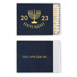 ForYourParty's chic Stardream Navy Candle Matchbox with Shiny 18 Kt Gold Foil Color has a Menorah graphic and is good for use in Jewish Symbols, Holiday themed parties and will impress guests like no other. Make this party unforgettable.