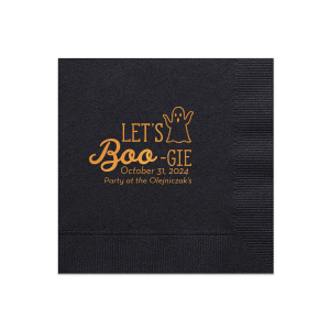 Our personalized Black Cocktail Napkin with Shiny Copper Foil has a Ghost graphic and is good for use in Halloween themed parties and can be personalized to match your party's exact theme and tempo.