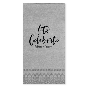 ForYourParty's personalized Galvanized Silver Cocktail Napkin with Matte Black Foil will look fabulous with your unique touch. Your guests will agree!