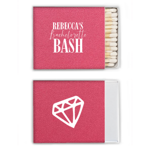 Our personalized Stardream Fuchsia Classic Matchbox with Matte White Foil Color and Shiny Leaf Foil Color has a Diamond graphic and is good for use in Wedding themed parties and will add that special attention to detail that cannot be overlooked.