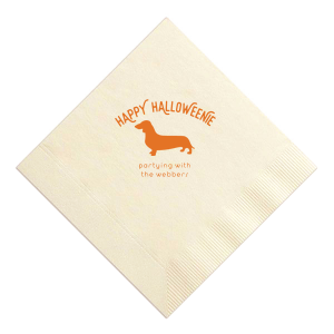 Our custom Ivory Cocktail Napkin with Matte Tangerine Foil has a Daschund graphic and Halloween pun and is good for use in Animal and Halloween themed parties and will impress guests like no other. Make this party unforgettable.