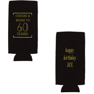 ForYourParty's personalized Black Round Can Cooler with Matte Chartreuse Ink Cup Ink Colors will make your guests swoon. Personalize your party's theme today.