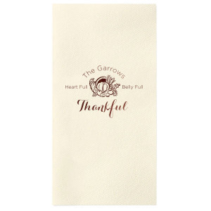 Our custom Ivory Cocktail Napkin with Shiny Merlot Foil Color has a Thanksgiving graphic and is good for use in Holiday themed parties and will make your guests swoon. Personalize your party's theme today.