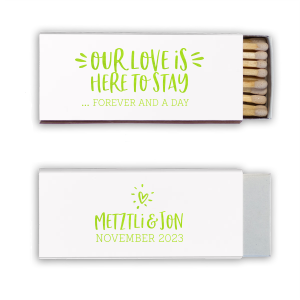 Our personalized Natural Frost White Classic Matchbox with Shiny Kiwi / Lime Foil can't be beat. Showcase your style in every detail of your party's theme!