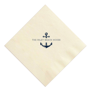 ForYourParty's elegant Kraft/Latte Guest Towel with Shiny Sky Blue Foil has a Anchor Frame graphic and is good for use in Travel, Beach/Nautical, Father's Day themed parties and will give your party the personalized touch every host desires.