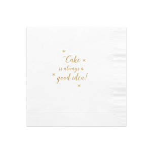Our custom White Cocktail Napkin with Satin 18 Kt. Gold Foil couldn't be more perfect. It's time to show off your impeccable taste.