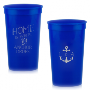 Custom Silver 16 oz Stadium Cup with Matte Navy Ink Cup Ink Colors has a Anchor Frame graphic and is good for use in Travel, Beach/Nautical, Father's Day themed parties and can be personalized to match your party's exact theme and tempo.