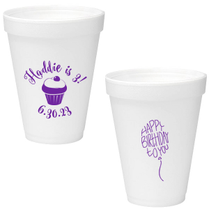 Our custom Matte Amethyst Ink 12 oz Foam Cup with Matte Amethyst Ink Screen Print has a Kid Cupcake graphic and a Birthday Balloon graphic and is good for use in Words, Kid Birthday, Birthday themed parties and can't be beat. Showcase your style in every detail of your party's theme!