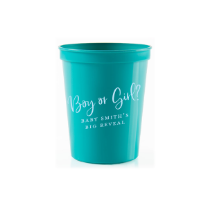 ForYourParty's personalized Teal 16 oz Stadium Cup with Matte Sky Blue Ink Cup Ink Colors can be customized to complement every last detail of your party.
