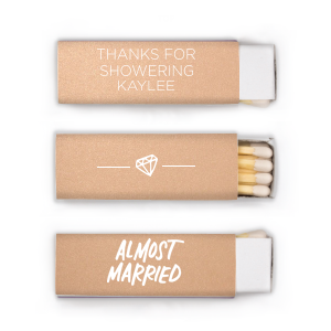 ForYourParty's personalized Stardream Rose Gold Lipstick Matchbox with Matte White Foil Color has a Almost Married graphic and a Diamond graphic and is good for use in Wedding themed parties and showers and couldn't be more perfect. It's time to show off your impeccable taste.