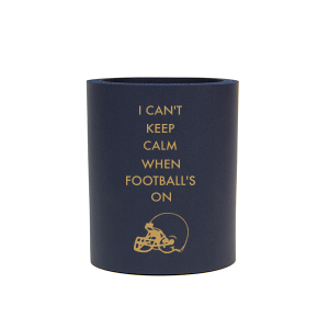 ForYourParty's elegant Navy Slim Can Cooler with Gold Ink Cup Ink Colors has a Helmet graphic and is good for use in Sports themed parties and can be customized to complement every last detail of your party.
