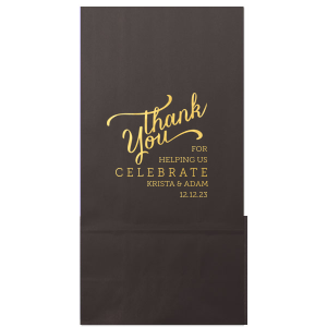 ForYourParty's personalized Black Party Bag with Shiny 18 Kt Gold Foil has a Thank You 3 graphic and is good for use in Wedding, Shower, Anniversary themed parties and will impress guests like no other. Make this party unforgettable.