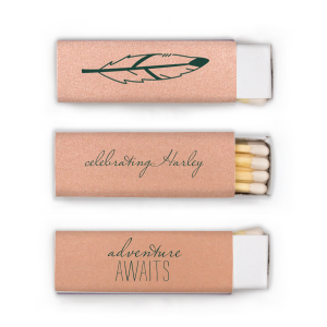Our custom Poptone Peach Lipstick Matchbox with Matte Spruce Foil has a Feather graphic and is good for use in  Trendy and Southwestern themed parties and can't be beat. Showcase your style in every detail of your party's theme!