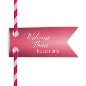 ForYourParty's personalized Stardream Fuschia Rectangle Straw Tag with Matte White Foil Color can be personalized to match your party's exact theme and tempo.