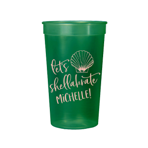 Our beautiful custom Green 16 oz Stadium Cup with Matte Pastel Pink Ink Cup Ink Colors has a Shell 1 graphic and is good for use in Beach/Nautical themed parties and will impress guests like no other. Make this party unforgettable.