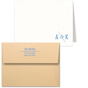 ForYourParty's chic Strathmore White Classic Note Card with Envelope with Satin French Blue Foil has an Modern Ampersand graphic and is good for use as Wedding and Home stationery and can be customized to your favorite color combination.