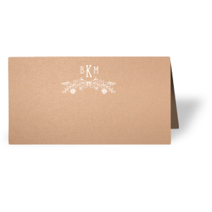 ForYourParty's chic Stardream Rose Gold Classic Place Card with Matte White Foil has a Rose Laurel graphic and is good for use in Wedding, Floral themed parties and will give your party the personalized touch every host desires.