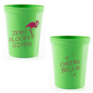 The ever-popular Lime 16 oz Stadium Cup with Matte Dark Magenta Ink Cup Ink Colors has a Flamingo graphic and is good for use in Animals, Organic, Birthday themed parties and will add that special attention to detail that cannot be overlooked.