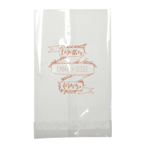 Our custom Metallic Silver Wine Gift Bag with Satin Copper Penny Foil Color has a Together Forever Banner graphic and is good for use in Wedding and Anniversary themed parties and are a must-have for your next event—whatever the celebration!