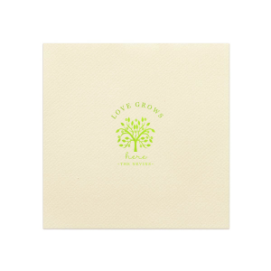 ForYourParty's chic Ivory Linen Like Cocktail Napkin with Shiny Kiwi / Lime Foil has a Tree of Life graphic and is good for use in Floral, Wedding, Garden themed parties and couldn't be more perfect. It's time to show off your impeccable taste.