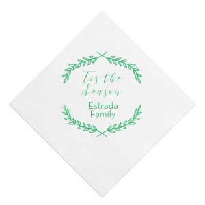 Our personalized White Ink Printed Cocktail Napkin with Matte Spring Green Ink Digital Print Colors has a Branch Frame graphic and Tis the Season saying and is good for use in Holiday and Christmas themed parties and can be personalized to match your party's exact theme and tempo.