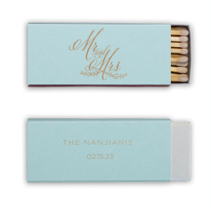 Custom Poptone Sky Blue Candle Matchbox with Shiny 18 Kt Gold Foil has a Mr And Mrs 3 graphic and is good for use in Wedding, Words, Anniversary themed parties and can be personalized to match your party's exact theme and tempo.