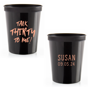 Our custom Black 16 oz Stadium Cup with Matte Light Coral Ink Cup Ink Colors can be customized to complement every last detail of your party.