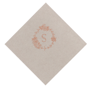 Personalize this Honeydew napkin with Copper foil as a delicate floral statement for your greenery themed bridal shower, engagement party or wedding. Our Peony Frame graphic gives just the right trendy touch to accent your initial!