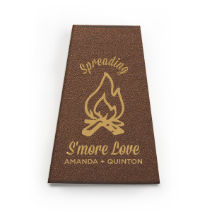 Personalized Stardream Espresso Brown Pyramid Box with Satin 18 Kt. Gold Foil has a Campfire graphic and is good for use in Outdoors, Southwestern, Father's Day themed parties and couldn't be more perfect. It's time to show off your impeccable taste.