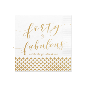 Our custom White Cocktail Napkins with Bleed with Satin 18 Kt. Gold Foil has a Diamonds graphic and is good for use in Birthday and other Celebration parties and will make your guests swoon. Personalize your party's theme today.
