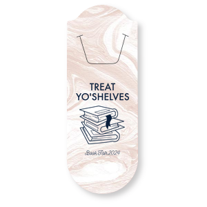 ForYourParty's chic Marble Blush Rounded Bookmark with Matte Navy Foil has a Books Stacked graphic and is good for use in Book and Literature themed parties and can't be beat. Showcase your style in every detail of your party's theme!