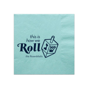The ever-popular Tiffany Blue Cocktail Napkin with Matte Navy Foil has a Dreidel graphic and is good for use in Jewish and Hanukkah  themed parties and will make your guests swoon. Personalize your party's theme today.