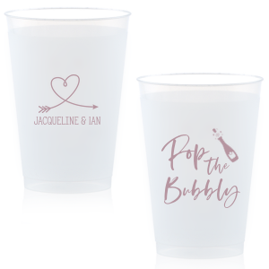 ForYourParty's personalized 10 oz Frost Flex Cup with Matte Mauve Ink Cup Ink Colors has a Arrow Heart graphic and a Bubbly graphic and is good for use in Drinks, Love and Wedding themed parties and can be customized to complement every last detail of your party.
