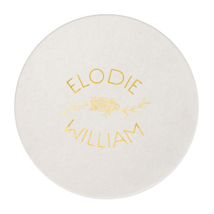 Our personalized Black with Silver back Nouveau Coaster with Shiny 18 Kt Gold Foil Color has a Peony Flourish 2 graphic and is good for use in Floral themed parties and can't be beat. Showcase your style in every detail of your party's theme!