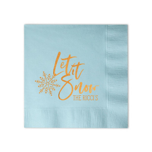 ForYourParty's elegant Sky Blue Cocktail Napkin with Shiny Copper Foil has a Snowflake graphic and is good for use in Delphine themed parties and can be personalized to match your party's exact theme and tempo.