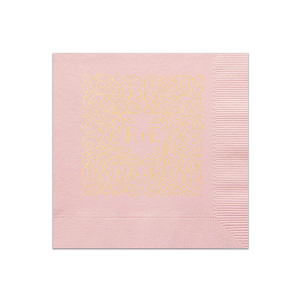 Personalize this Ballet Pink napkin with Shiny 18kt Gold foil color for an elegant look perfect for your bridal shower, engagement party or wedding. Our hand hewn graphic gives just the right trendy touch to accent your initials!