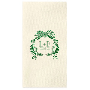 ForYourParty's elegant Ivory Cocktail Napkin with Shiny Green Tea Foil has a Rustic Floral Frame graphic and is good for use in Frames, Wedding, Anniversary themed parties and will look fabulous with your unique touch. Your guests will agree!