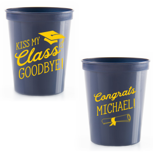 Our custom Navy 16 oz Stadium Cup with Matte Sunflower Ink Cup Ink Colors has a Cap graphic and a Graduation Scroll graphic and is good for use in Graduation themed parties and are a must-have for your next event—whatever the celebration!