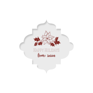 Our personalized Classic Crest White Round Label with Matte Merlot Ink Color has a Pointsettia graphic and is good for use in Holiday, Christmas, Floral themed parties and can't be beat. Showcase your style in every detail of your party's theme!