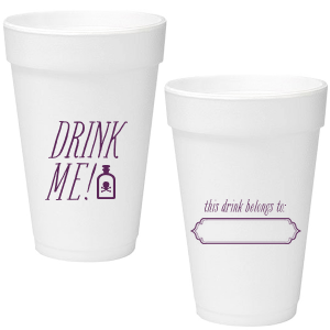 Custom 16 oz Styrofoam Cup with Matte Eggplant Ink has an Ornate Frame graphic and is good for use in Halloween themed parties and will impress guests like no other. Make this party unforgettable.