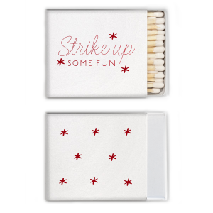 ForYourParty's elegant Crystal White Shimmer 30 Strike Matchbook with Shiny Convertible Red Foil Color will add that special attention to detail that cannot be overlooked.